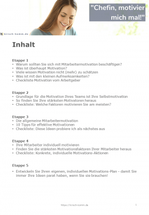 Inhalt Workbook Teammotivation